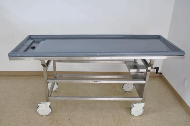 Autopsy cart / reclining / stainless steel / height-adjustable DB600 Mopec