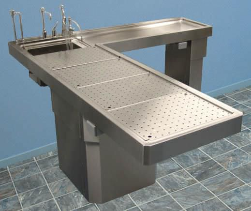 Autopsy table / L-shaped / with sink CE600 Mopec