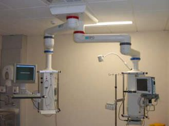 Ceiling-mounted double medical pendant / articulated / with column / modular Series 500 Starkstrom