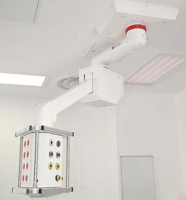 Ceiling-mounted medical pendant / height-adjustable / articulated / with column Series 300 Starkstrom