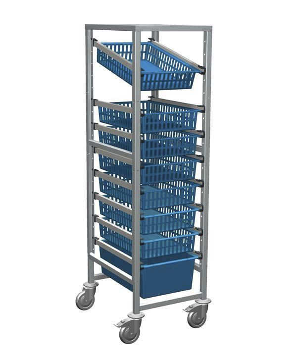 Storage trolley / with basket / open-structure / modular 46441 ZARGES