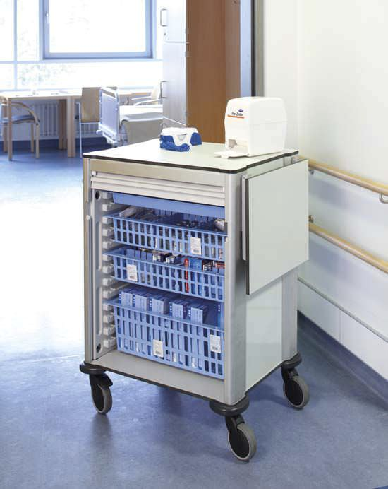 Treatment trolley / with basket / modular / 1-tray ZARGES