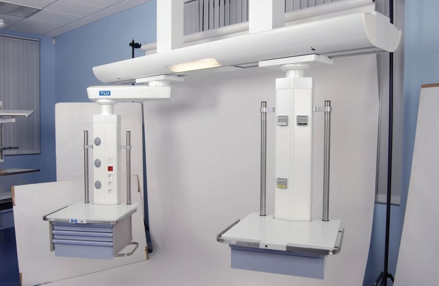Ceiling-mounted supply beam system / with column / with shelves U-CARE TLV Healthcare