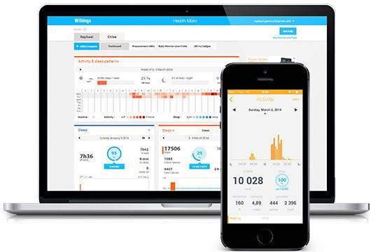 Management iOS application / health telemonitoring / medical Health Mate Withings