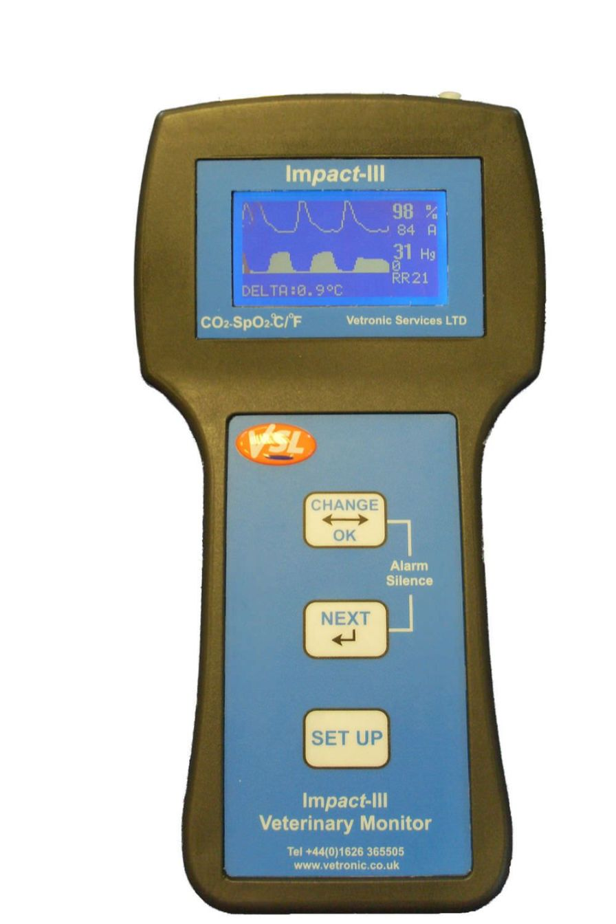 Temperature patient monitor / end-tidal CO2 / SpO2 / portable IMPACT III Vetronic Services