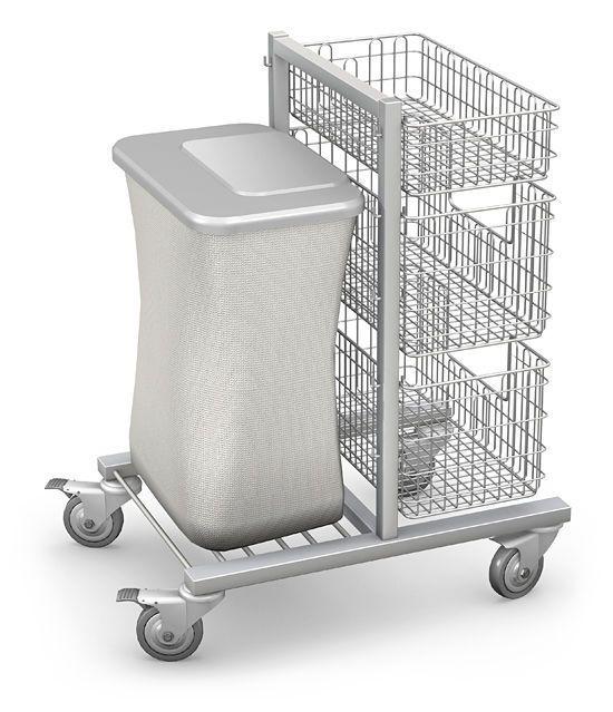 Multi-function trolley / with basket / stainless steel / 2-shelf WKS-1 TECHMED Sp. z o.o.