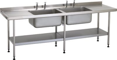 Stainless steel sink / with drainboard / 2-station W/SSE20618D/ST/SHF TEKNOMEK