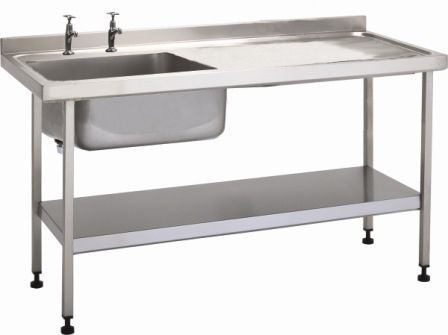 Stainless steel sink / with drainboard / 1-station W/SSE20601R/ST/SHF TEKNOMEK