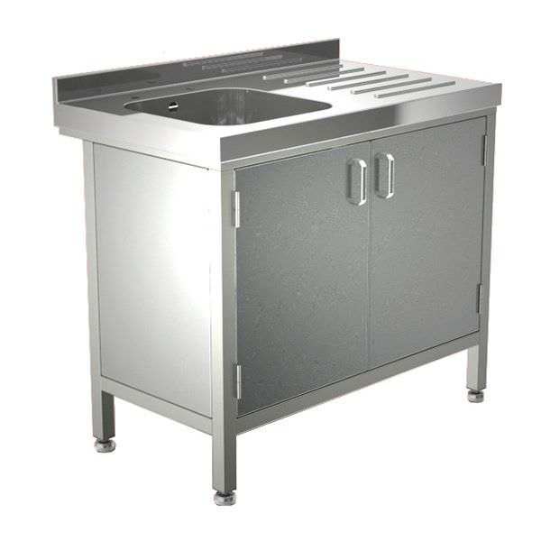 Stainless steel sink / with drainboard / furniture-mounted / 1-station W/SSE20601R/CUP TEKNOMEK
