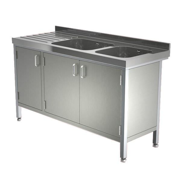 Stainless steel sink / with drainboard / furniture-mounted / 2-station W/SSE20628D/CUP TEKNOMEK
