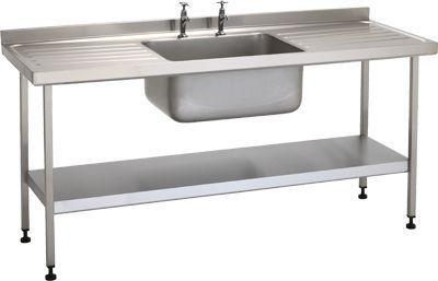 Stainless steel sink / with drainboard / 1-station W/SSE20604N/ST/SHF TEKNOMEK