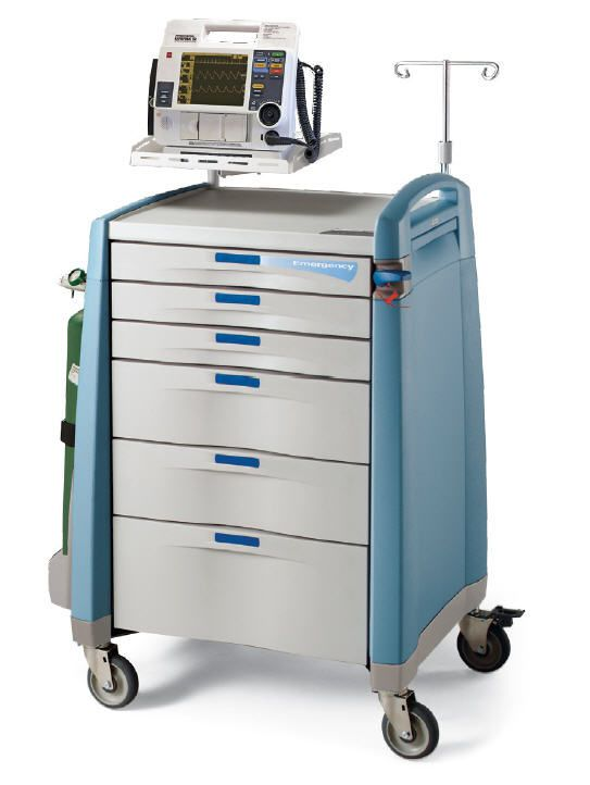 Emergency trolley / with defibrillator shelf / with IV pole Capsa Solutions