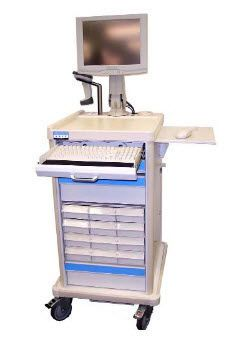 """Height-adjustable computer cart / medical / with drawer 17"""", 19"""" 