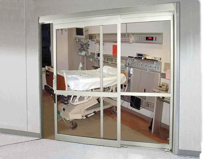 Hospital door / laboratory / sliding / with glass panel ICU/CCU 7200 Stanley Access Technologies