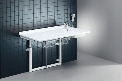 Changing table / electric / height-adjustable / with sink R8734 Pressalit Care