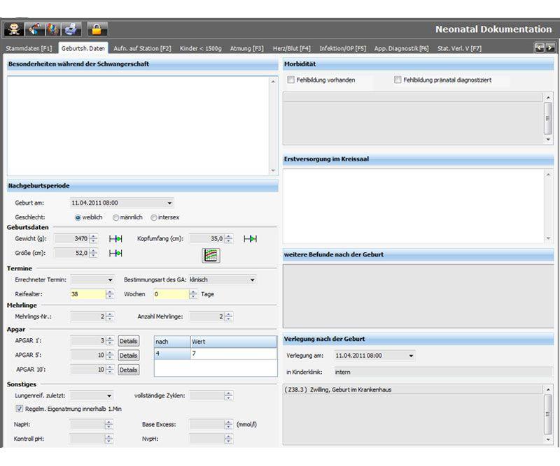 Patient data management software / for neonatology services NEXUS / NEONATOLOGY Nexus AG