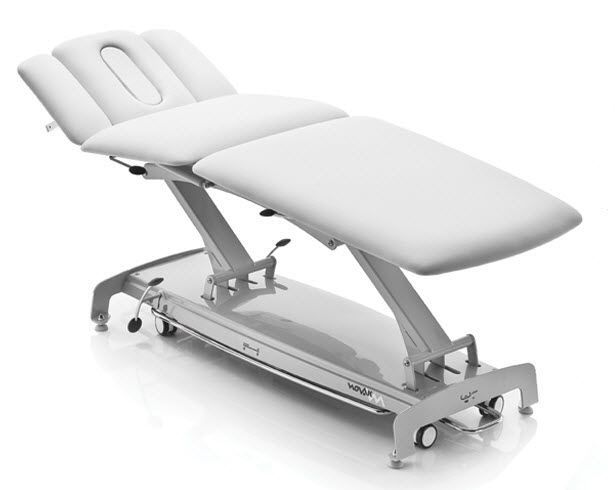 Hydraulic massage table / height-adjustable / on casters / 3 sections S plus NOVAK M
