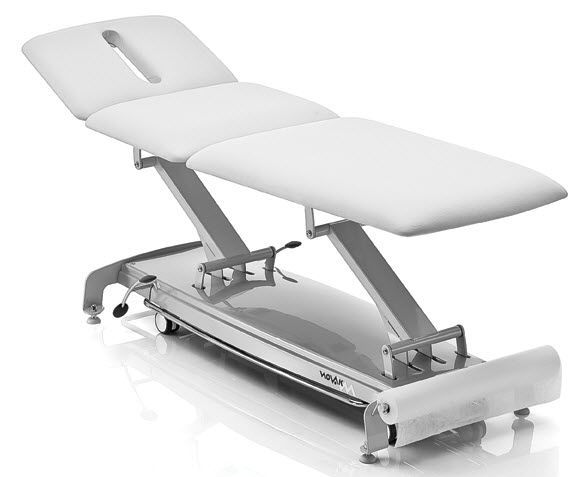 Hydraulic massage table / height-adjustable / on casters / 3 sections S NOVAK M