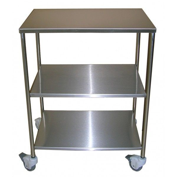 Instrument table / on casters / auxiliary / stainless steel / 3-tray M093 Mobiclinic