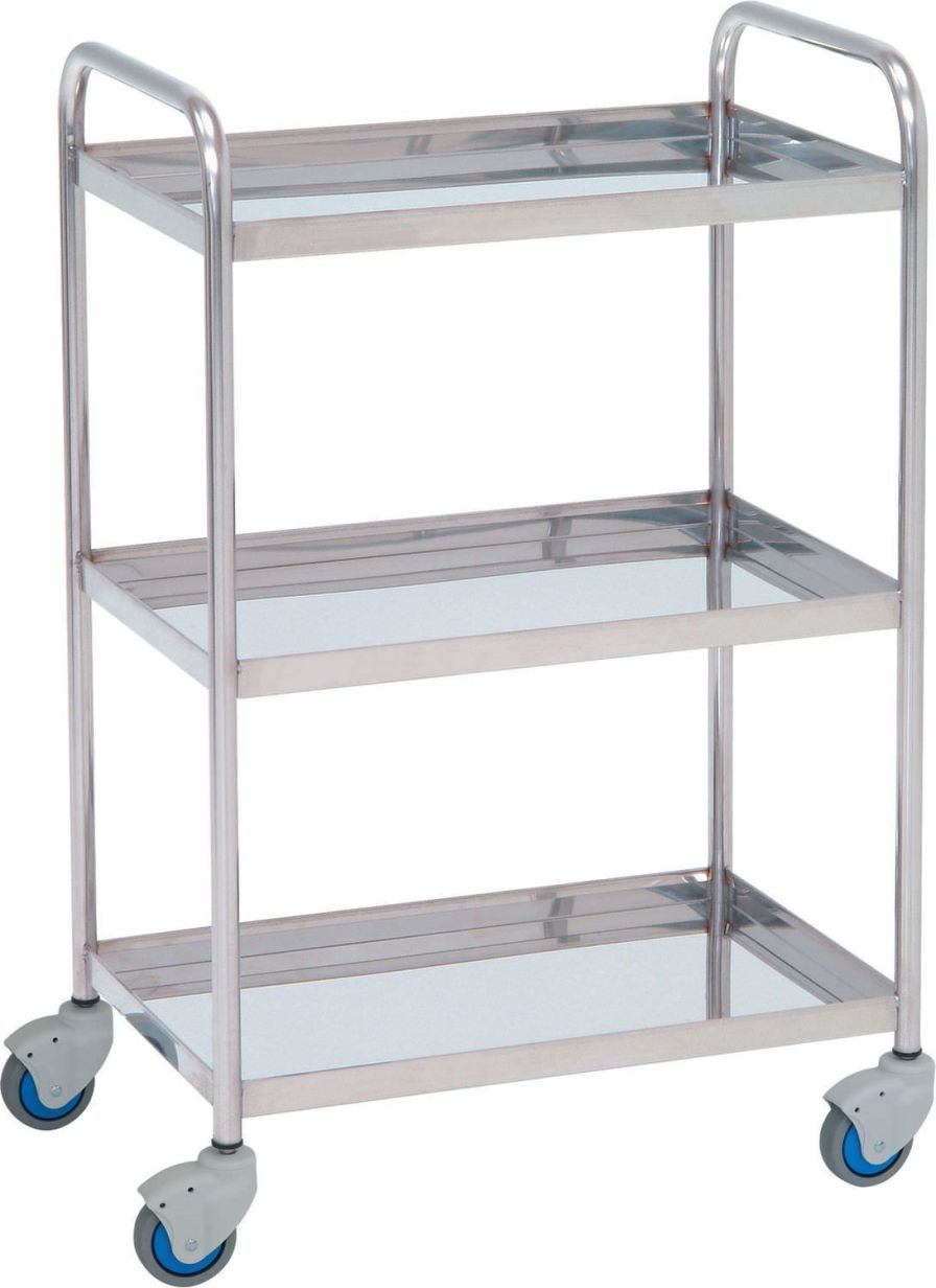 Auxiliary instrument table / stainless steel / on casters / 3-tray 14003 Inmoclinc