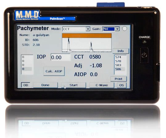 Pachymeter (ophthalmic examination) / ultrasound pachymetry / hand-held PALMSCAN P2000 Micro Medical Devices