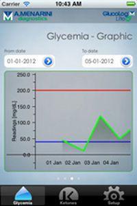 Patient data management iOS application GlucoLog® Lite Menarini Diagnostics