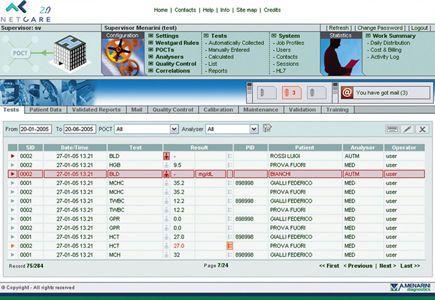 Patient data management system / point of care NetCare 2.0 Menarini Diagnostics