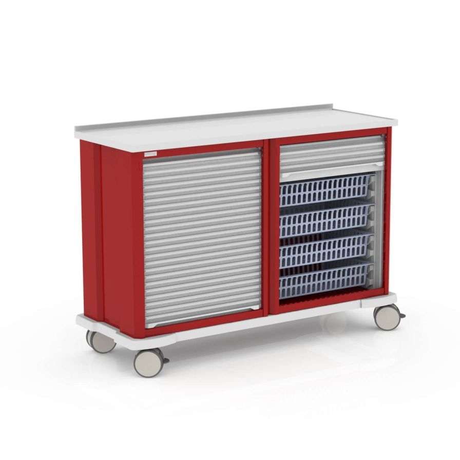 Storage trolley / with tambour door MEDICAL MODULAR SYSTEM S.A. (MMS)