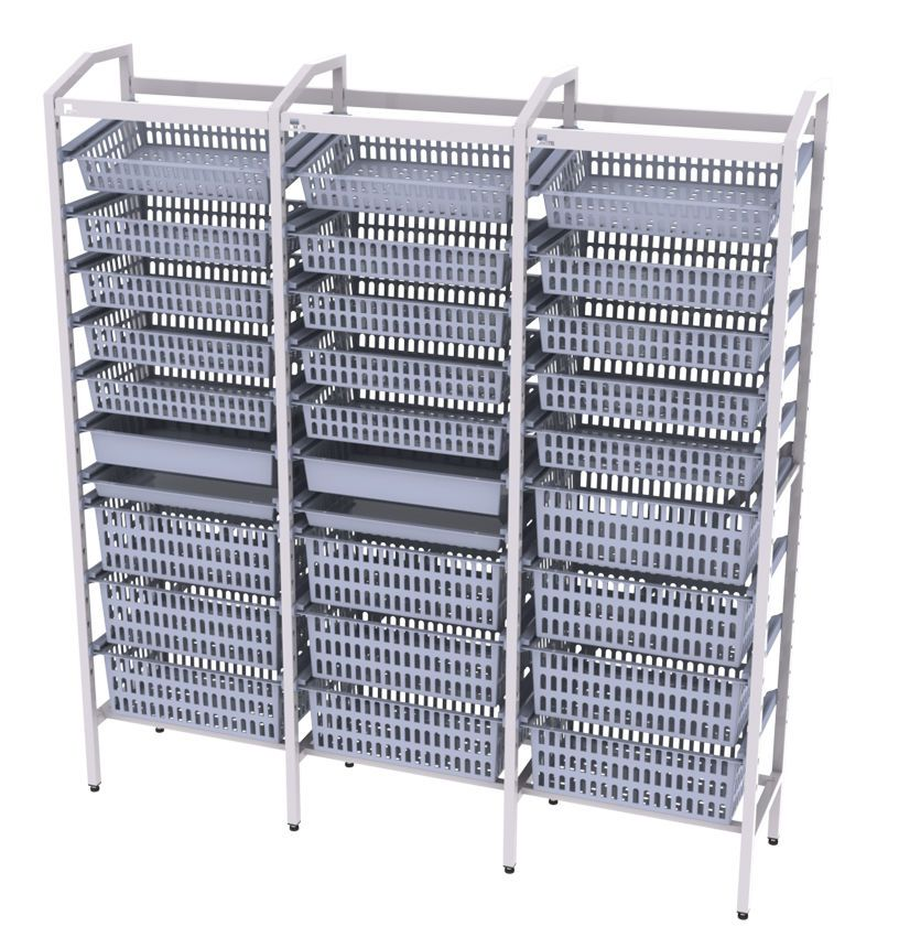 Modular shelving unit MMSlog® MEDICAL MODULAR SYSTEM S.A. (MMS)