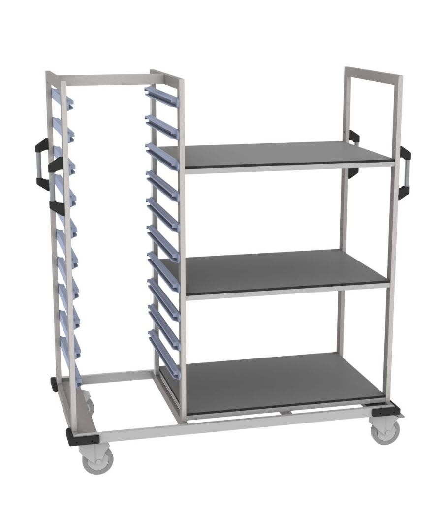 Transport trolley / with basket / open-structure MMSlog® MEDICAL MODULAR SYSTEM S.A. (MMS)