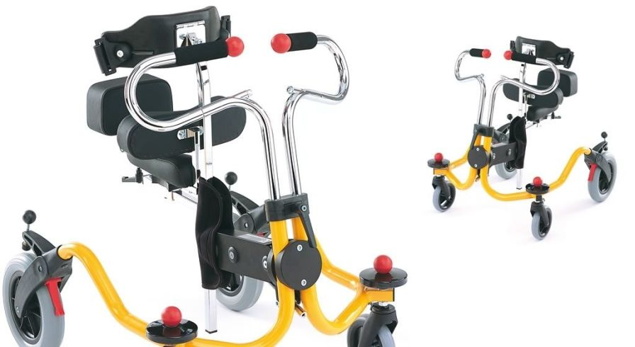 4-caster rollator / pediatric / height-adjustable / with seat Atlas Leckey