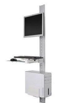 Medical computer workstation / height-adjustable / wall-mounted POC-MCOW1 ISE Group