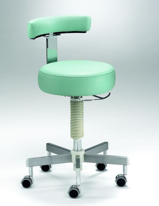 Dental stool / on casters / height-adjustable / with backrest Coburg Dentalift 11005 Jörg & Sohn