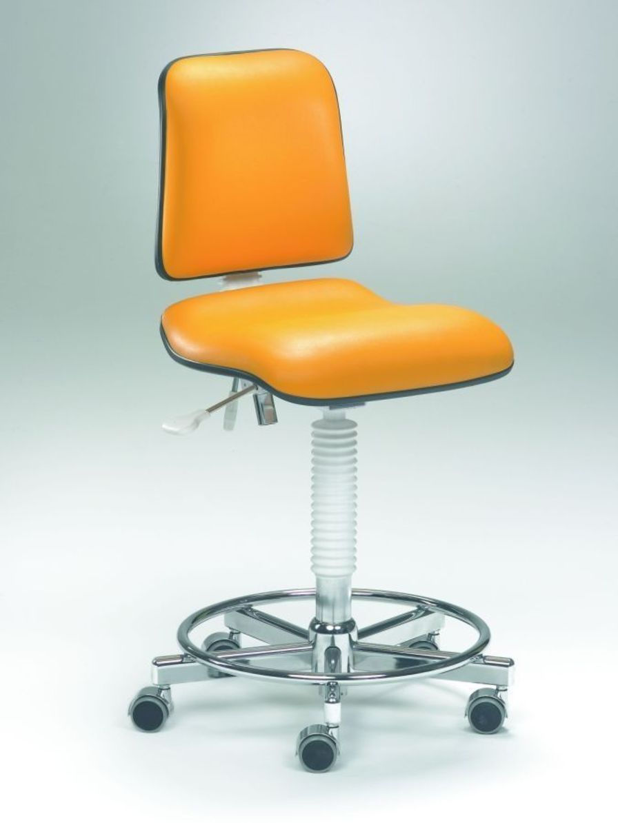 Medical stool / height-adjustable / on casters / with backrest Coburg Dentalift 33011 Jörg & Sohn