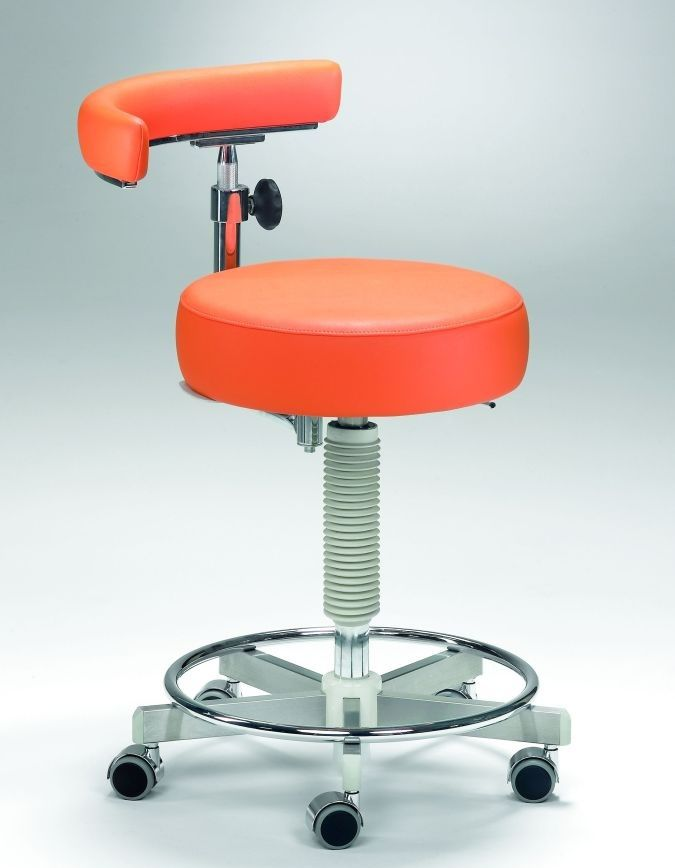 Dental stool / on casters / height-adjustable / with backrest Coburg Dentalift 11001 Jörg & Sohn