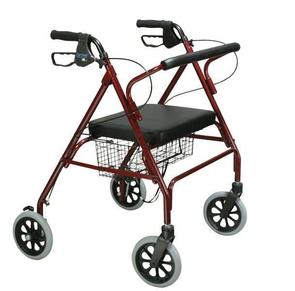 4-caster rollator / height-adjustable / with seat / folding max. 180 kg | Heavy Duty 10215 Drive Medical Europe