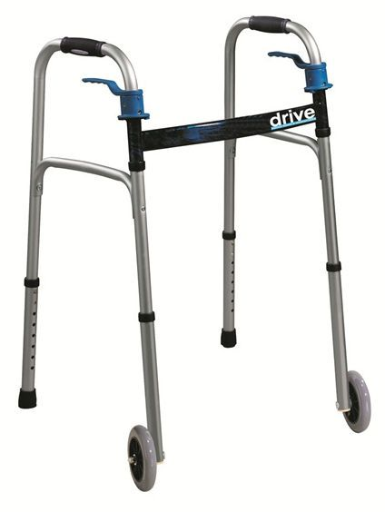 Folding walker / height-adjustable / with 2 casters max. 160 kg | Deluxe Trigger Release Drive Medical Europe