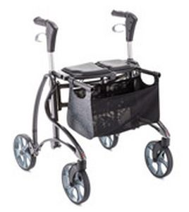 4-caster rollator / with seat / folding Jazz Invacare