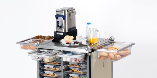 Distribution trolley / breakfast / with hinged door / closed-structure Servis evo ISECO FRANCE