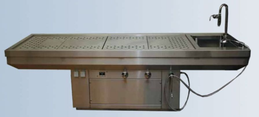 Autopsy table / with suction system / with sink 33350, 33350A Hygeco International Produits