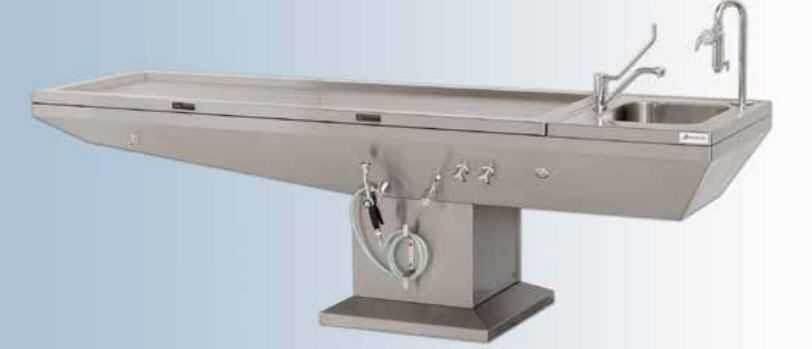 Autopsy table / with sink / with suction system 33320 Hygeco International Produits