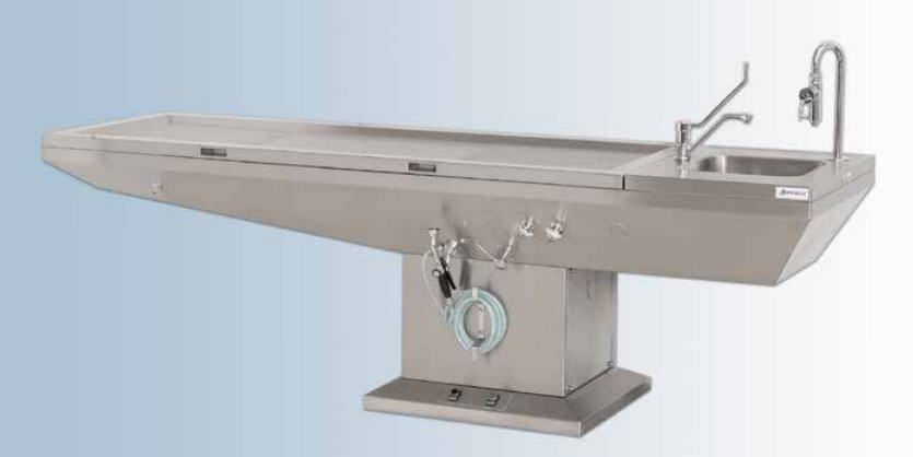 Autopsy table / with suction system / with sink / electric 33325 Hygeco International Produits
