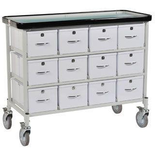 Medicine distribution trolley / 1 to 14 container PH/5/24/B Bristol Maid Hospital Metalcraft
