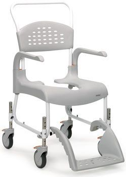 Shower chair / with cutout seat / on casters max. 130 kg   Clean etac