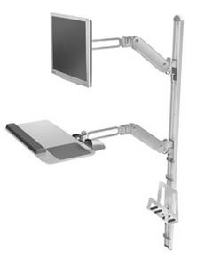Medical monitor support arm / wall-mounted / with keyboard arm V5 Humanscale Healthcare