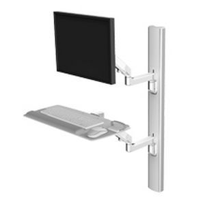 Medical monitor support arm / wall-mounted / with keyboard arm V6 Humanscale Healthcare