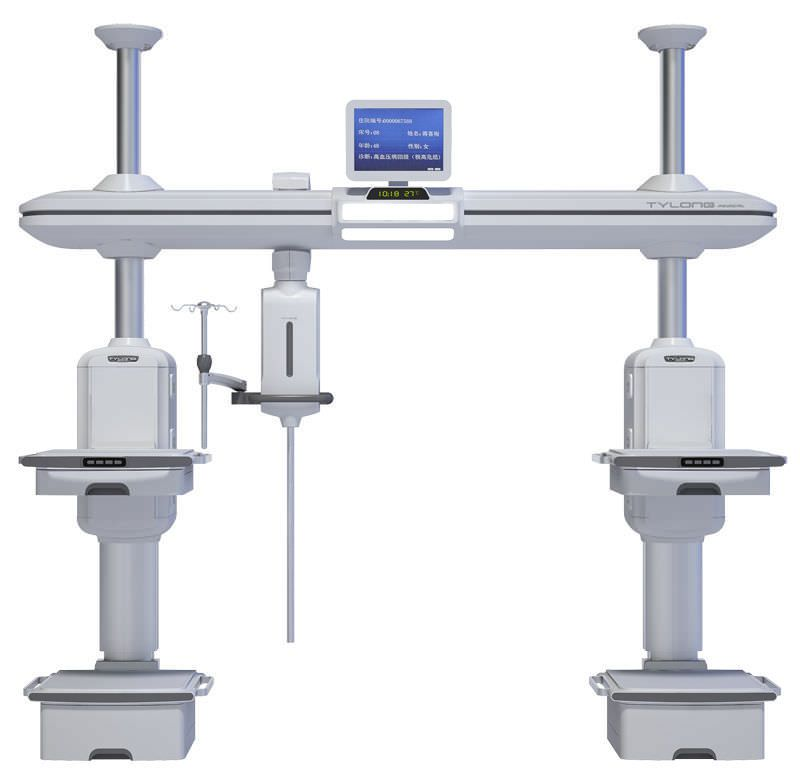 Ceiling-mounted supply beam system / with shelves / with column / ICU YDT-DQ4 Hunan taiyanglong medical