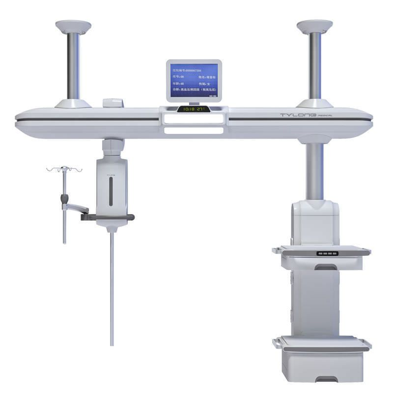 Ceiling-mounted supply beam system / with column / with shelves / ICU YDT-DQ8 Hunan taiyanglong medical