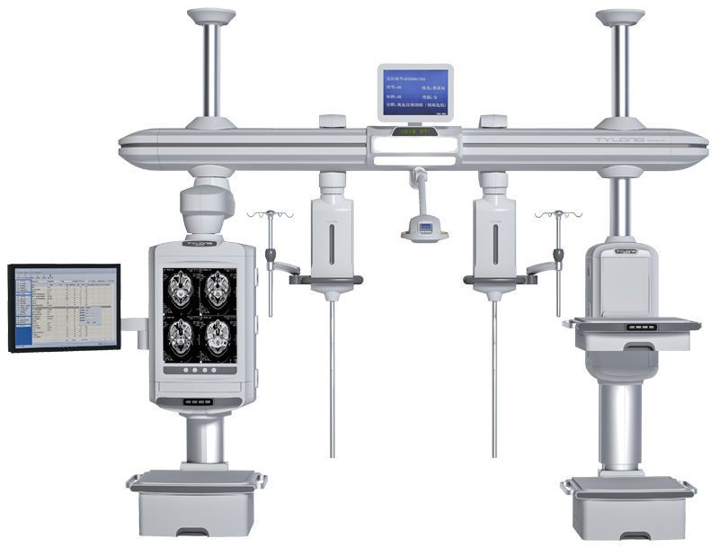 Ceiling-mounted supply beam system / with shelves / with column / ICU YDT-DQ1 Hunan taiyanglong medical