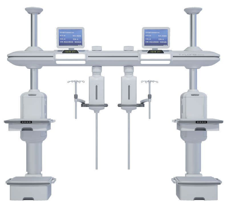 Ceiling-mounted supply beam system / with column / with shelves / ICU YDT-DQ6 Hunan taiyanglong medical